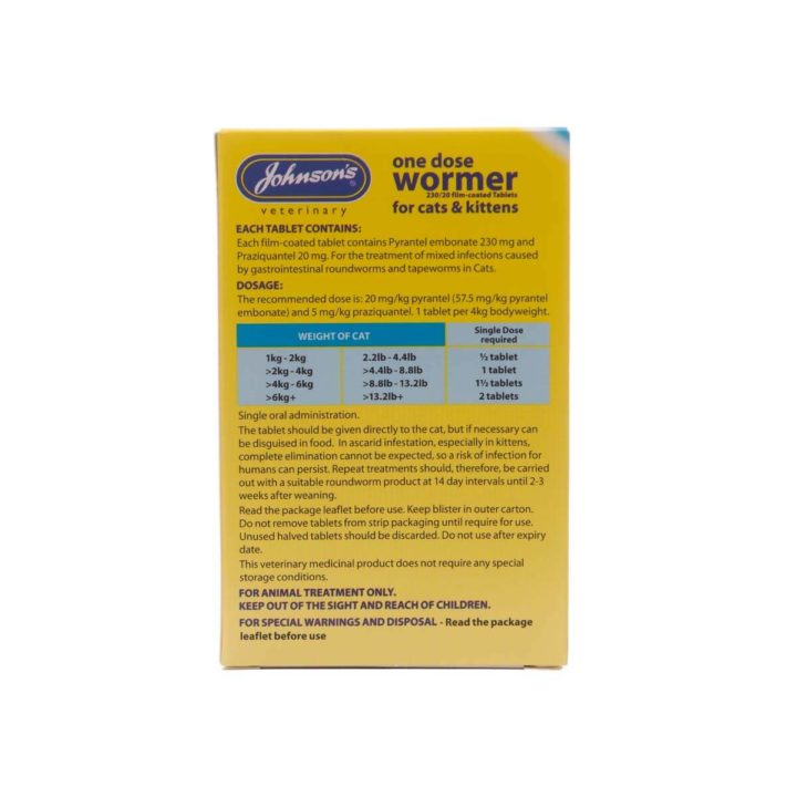 Johnsons One Dose Wormer for Cats and Kittens