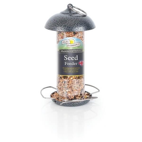 Harrisons Hammertone Silver Seed Feeder - 2 Sizes