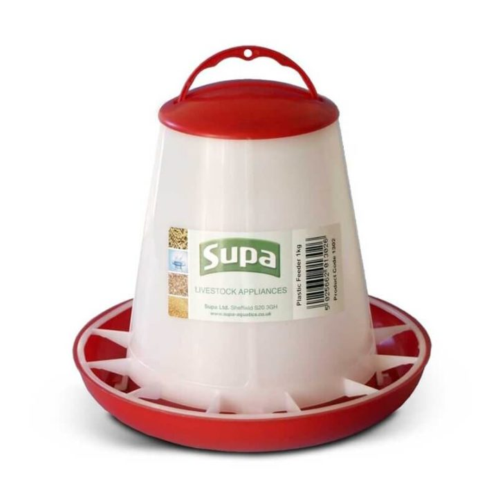 Supa Red & White Poultry Feeder - 2 Sizes